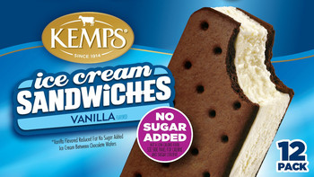 (12 Pack) Kemps Ice Cream Sandwiches No Sugar Added Vanilla
