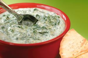 Three Cheese Spinach Artichoke Dip