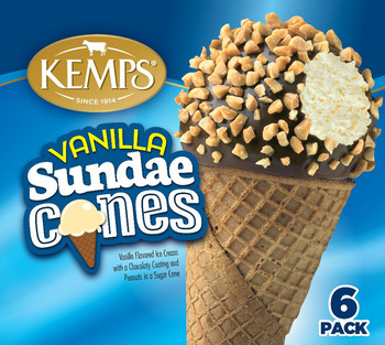 (6 Pack) Kemps Old Fashioned Sundae Cone Vanilla