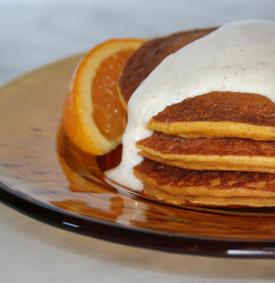 Pumpkin Pancakes with Maple Yogurt Topping