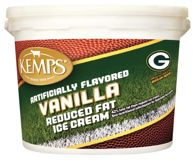 (132 oz. Pail) Green Bay Packers Vanilla Reduced Fat Ice Cream